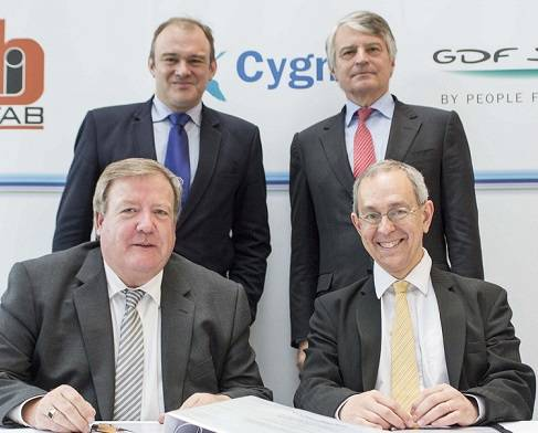 (Back L-R) Rt Hon Edward Davey MP, Secretary of State for Energy and Climate Change, Jean-Marie Dauger, Executive Vice-President of GDF SUEZ, (Front L-R) John Robertson, Managing Director, Burntisland Fabrications and Jean-Claude Perdigues, Managing Director, GDF SUEZ E&P U.K.