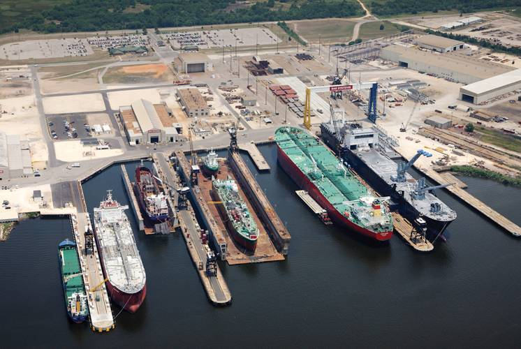 BAE Systems' Mobile shipyard is adjacent to the 42 foot deep ship channel on Mobile Bay with direct access to and from the GOM.