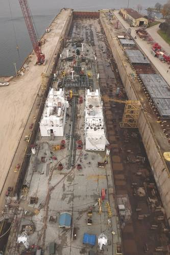 Barge under construction in Large Graving Dock (Photo: Bay Shipbuilding)