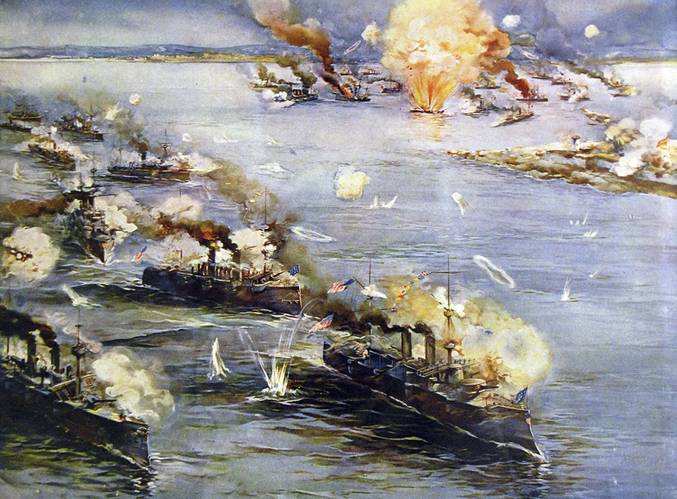 "Battle of Manila Bay, May 1, 1898, with Manila Philippines, in the top center, and the Spanish fleet in the upper right. Ships listed descending on the left to bottom: cutter USRC Cutter McCulloch; gunboats USS Petrel and USS Concord; protected cruisers USS Boston, USS Raleigh, USS Baltimore, and USS Olympia flagship, signaling ""Remember the Maine."" (Credit: Library of Congress)"
