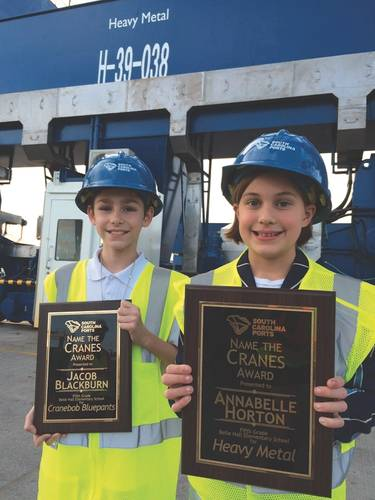 Belle Hall Elementary School fifth-grade students Jacob Blackburn and Annabelle Horton receive their award for naming our two new cranes. (Photo: SC Ports)