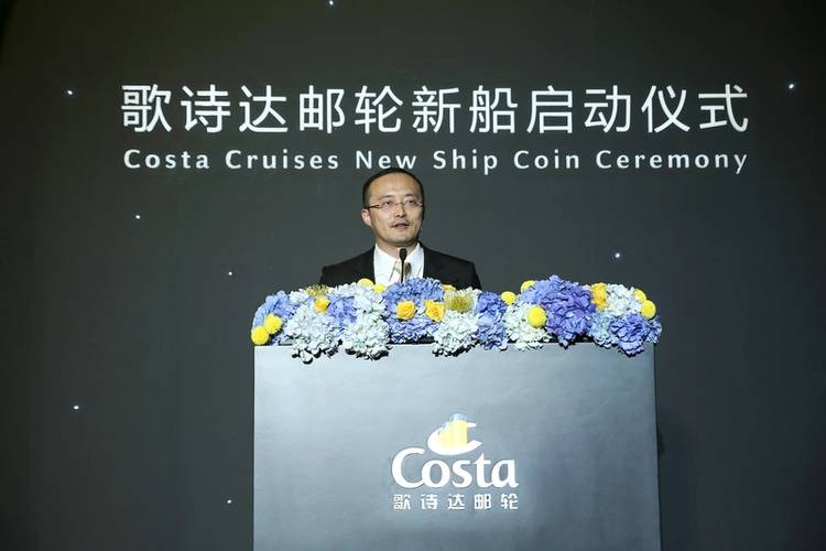 Bernie Ye, VP Sales & Commercial of Costa China announces Costa Venezia's inaugural world cruise (Photo: Costa Cruises)