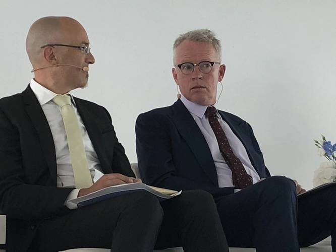 """""""Beware of people who are convinced (that they have the answer to the 2020 fuel rules),"""" said Paddy Rodgers (right), CEO of Euronav. (Photo: Greg Trauthwein)"""
