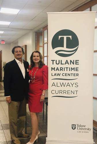 Boriana enjoys giving back to the community which has supported her throughout her career, pictured here with  Martin Davies, the head of the Admiralty Law Center at her alma mater Tulane Law School, where she recently gave a presentation to students.
