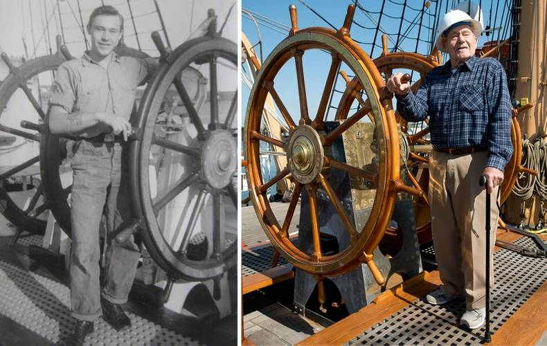 Briggs aboard the Eagle during his time as a coastguardsman (left), and again, more than six decades later, upon his return to the vessel (right)