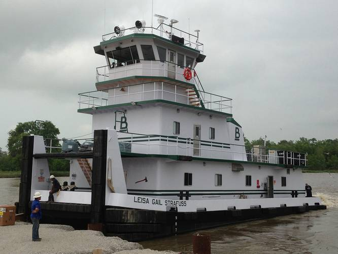 Built by New Generation Shipyard in Houm, La., he Lisa Gail Strafuss carries the well know Blessey Marine stack logo and is well sized and fitted out for pushing fuel barges in both the canals along the Gulf of Mexico and the Mississippi River system. A pair of grid-cooled Cummins K38-M main engines provides main power.  Photo courtesy of New Generation Shipbuilding