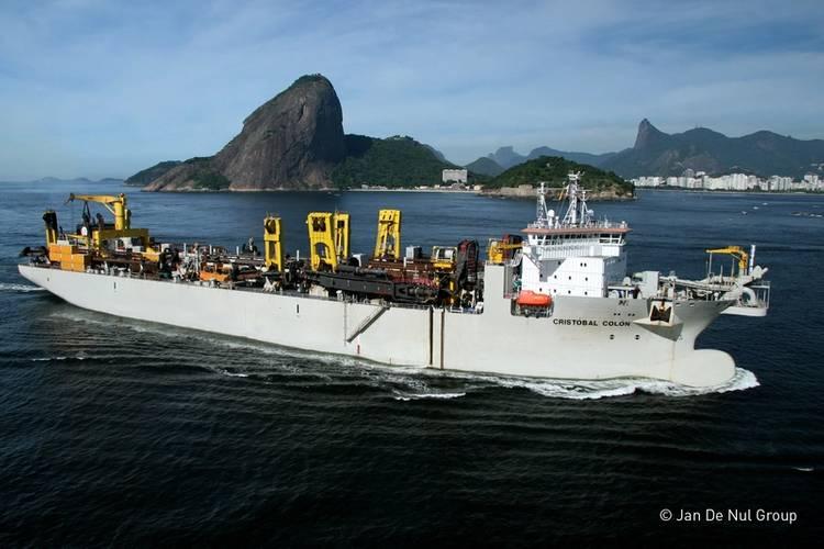 New business: Keppel has begun building dredgers like the Cristobal Colon, seen hear outside Rio de Janeiro. (Photo: copyright Jan de Nul Offshore)