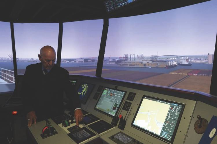 Cal Maritime has upgraded its full mission bridge simulators and is also upgrading its iBest Lab. In addition, Cal Maritime instructors continue to hone their skills with training from its simulator manufacturer. (Photo: Cal Maritime)