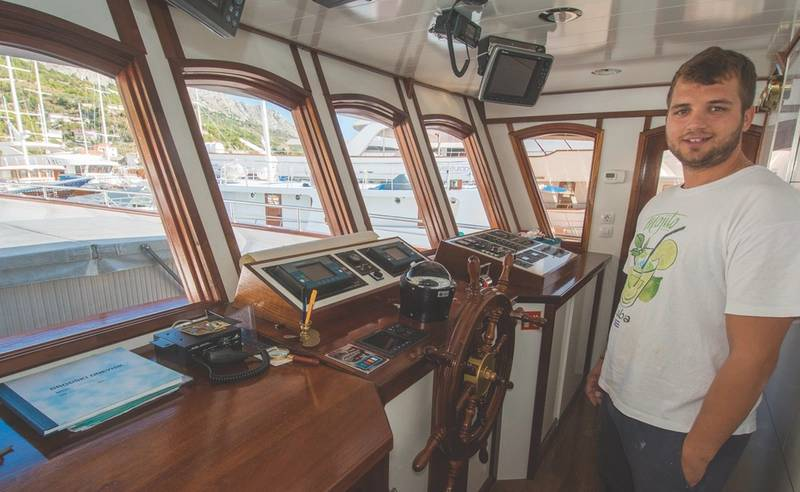 Capt. Duje Mladin on the bridge of the Admiral (Photo courtesy Mladin family)