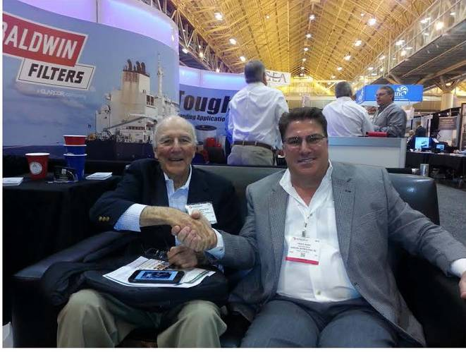 Captain Brian A. McAllister, Chairman McAllister Towing and Travis Short, President Horizon Shipbuilding at the 2015 International Workboat Show.