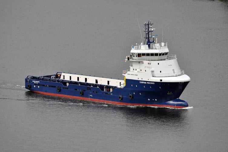 Caspian Provider, a 6,300 BHP PSV operating in Topaz's Caspian fleet.