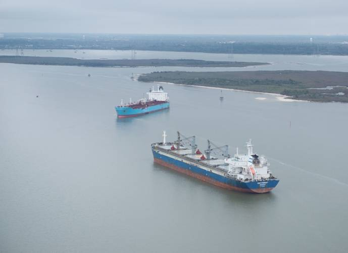 Chemical tanker Carla Maersk and bulk carrier Conti Peridot off Morgan's Point, Texas, March 10, 2015, after being involved in a collision March 9, 2015. (U.S. Coast Guard photo by Dustin R. Williams)