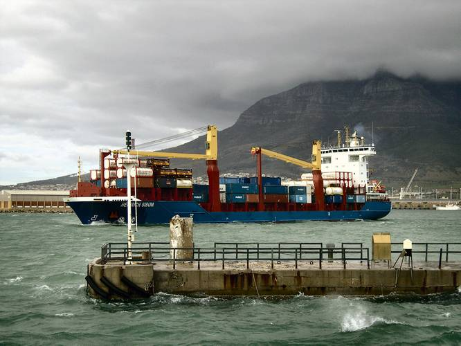 Chemical tanker leaving  Cape Town.