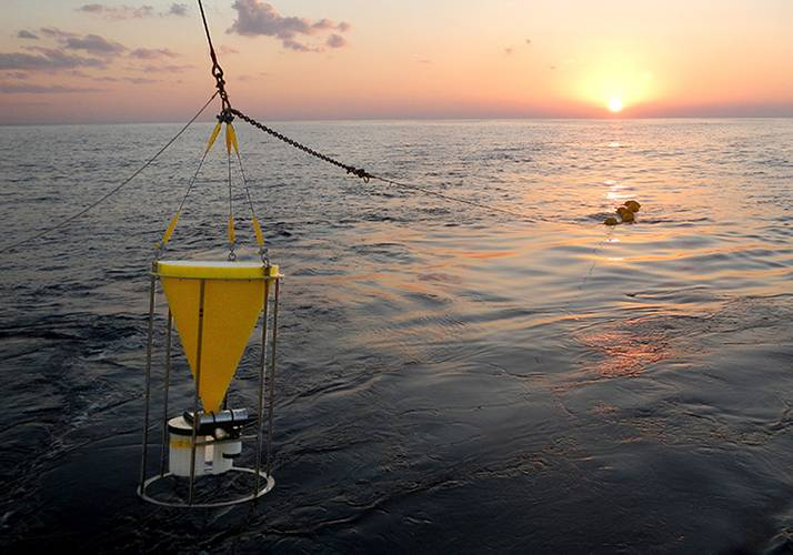 Researchers deployed time-series sediment traps 115 kilometers southeast of the nuclear power plant at depths of 500 meters and 1,000 meters. The two traps began collecting samples on July 19, 2011—130 days after the March 11 earthquake and tsunami—and were recovered and reset annually. (Makio Honda, Japan Agency for Marine-Earth Science and Technology)
