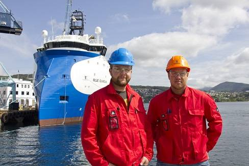 Chief engineer Jens-Kristian Rusten and Captain Trygve Valø are looking forward to start working onboard the new platform supply vessel Blue Guardian