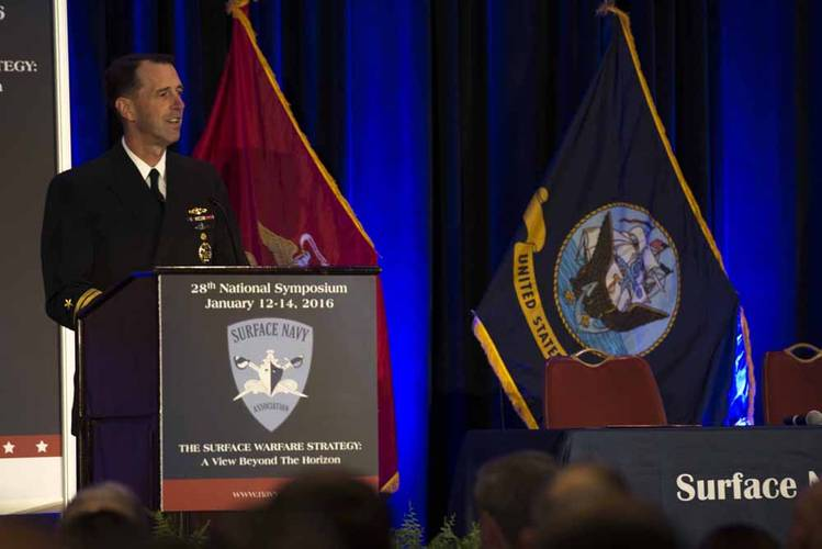 Chief of Naval Operations (CNO) Adm. John Richardson speaks at the 28th annual Surface Navy Association Symposium in the Crystal City section of Arlington, Va. (U.S. Navy photo by Mass Communication Specialist 1st Class Jessica Bidwell)