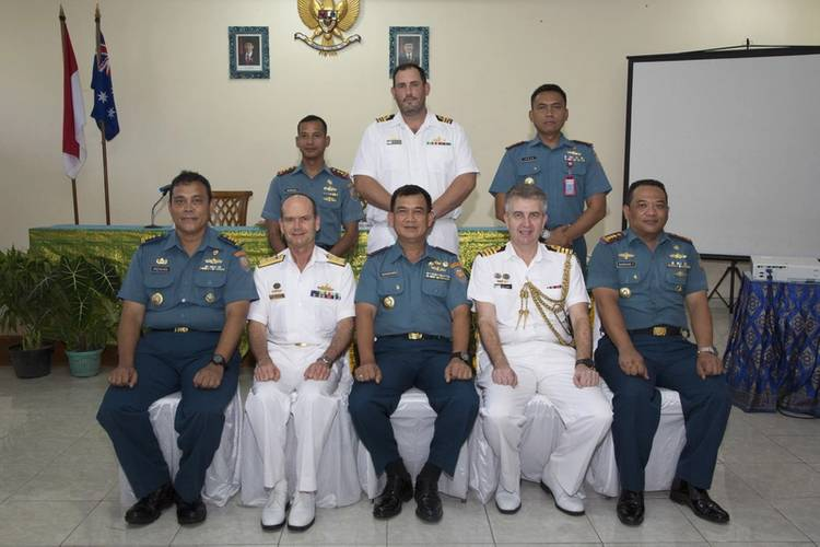 Official dignitaries and Commanding Officers of Australian and Indonesian ships at the closing ceremony for AUSINDO CORPAT 2016. (Photo: Commonwealth of Australia)