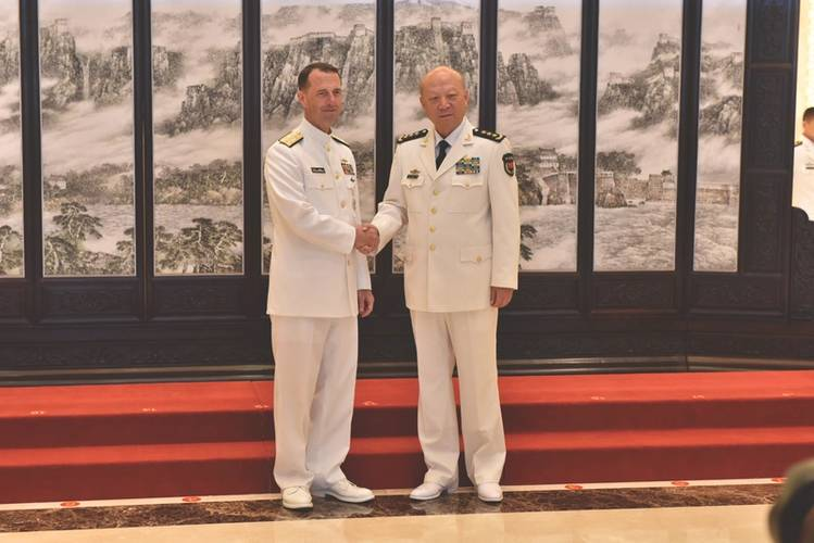 CNO Adm. John Richardson (left) meets with Adm. Wu Shengli, Commander of the People's Liberation Army Navy (PLAN), at the PLAN headquarters in Beijing. (U.S. Navy Photo by Nathan Laird)