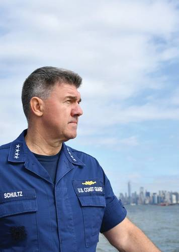 Coast Guard Commandant Adm. Karl Schultz visits with Coast Guard crews stationed in New York City. U.S. Coast Guard photo illustration by Petty Officer 1st Class Jetta Disco.