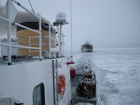 Coast Guard Cutter Biscayne Bay breaking ice and escorting ships on the Straits of Mackinac during the 2013 icebreaking season . U.S. Coast Guard photo.