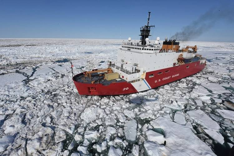 Coast Guard Cutter Healy patrols the Arctic Ocean during a Coast Guard Research and Development Center joint civil and federal search and rescue exercise near Oliktok Point, Alaska, July 13, 2015. The Healy is a 420-foot icebreaker homeported in Seattle. (USCG photo by Grant DeVuyst)