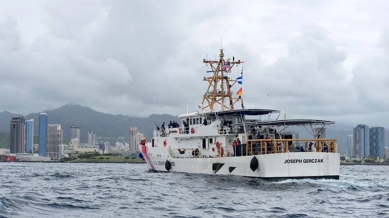 Coast Guard Cutter Joseph Gerczak arrives in Honolulu following a 42-day transit from Key West, Fla. (USCG photo by Sara Muir)
