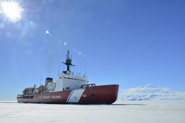 Coast Guard Cutter Polar Star breaks ice in McMurdo Sound near Antarctica in January 2018 (U.S. Coast Guard photo by Nick Ameen)