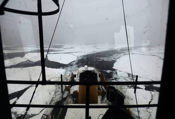 Coast Guard Cutter Polar Star leaves a channel through the ice in the Ross Sea below the Antarctic Circle in January 2018 (U.S. Coast Guard photo by Nick Ameen)