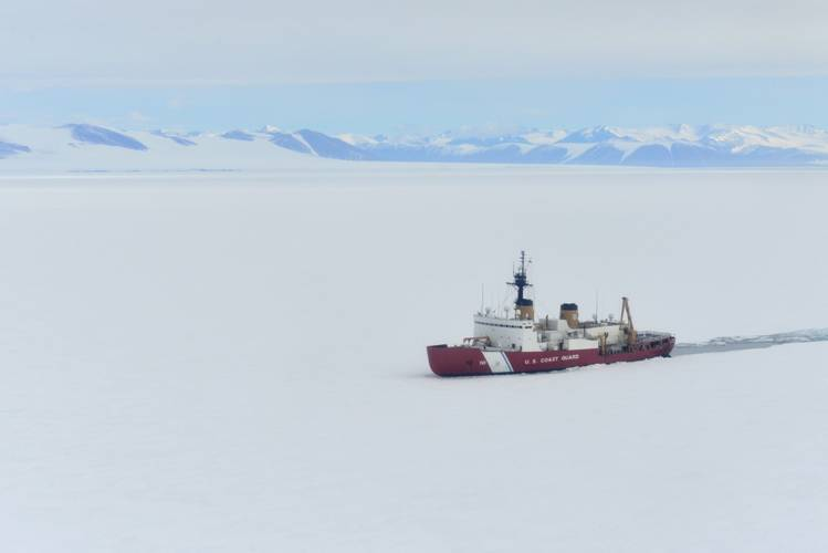 Coast Guard Cutter Polar Star breaks ice in McMurdo Sound near Antarctica (U.S. Coast Guard photo by Nick Ameen)