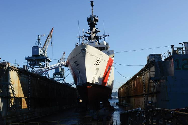 Coast Guard Cutter Waesche prepares to refloat from drydock in Seattle, Wash., May 22, 2018. The Waesche is a 418-foot Legend-class National Security Cutter homeported in Alameda, California. U. S. Coast Guard photo by Petty Officer 1st Class Ayla   Kelley.