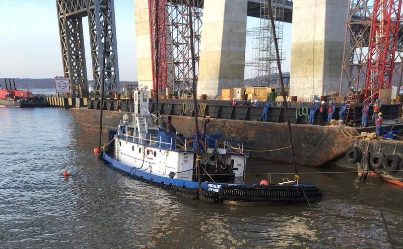 Coast Guard monitored the hoist of the tugboat Specialist near the Tappan Zee Bridge