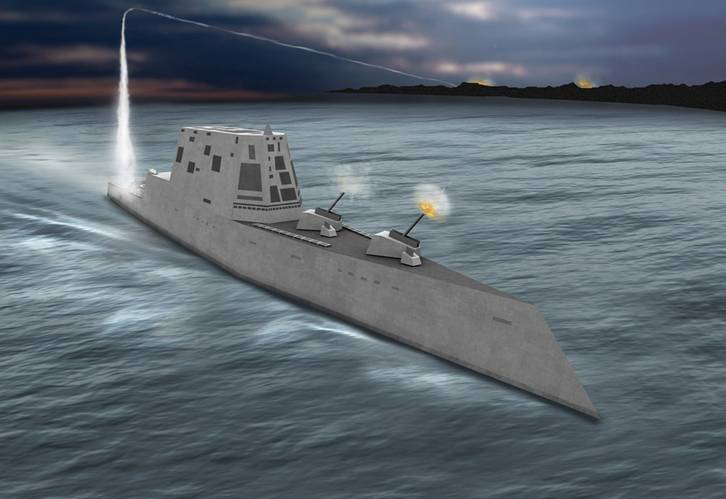 Concept view of the USS Zumwalt class destroyer (DDG-1000), formerly DD(X).  Source: http://peoships.crane.navy.mil/DDG1000/default.htm