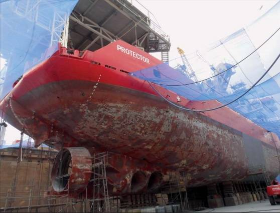 Condition of the hull of HMS Protector prior to Ecospeed application (Photo: Hydrex)