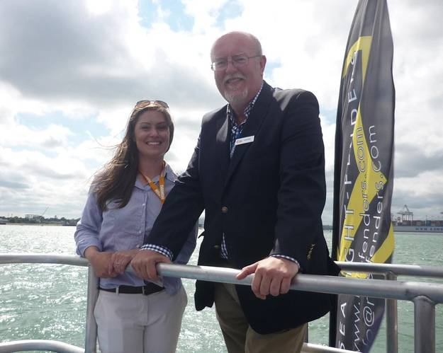 CWind Commercial Director Jemma Eaton and CTruk Chief Executive Andy White carry out the CWind Artimus naming (Photo: CTruk)