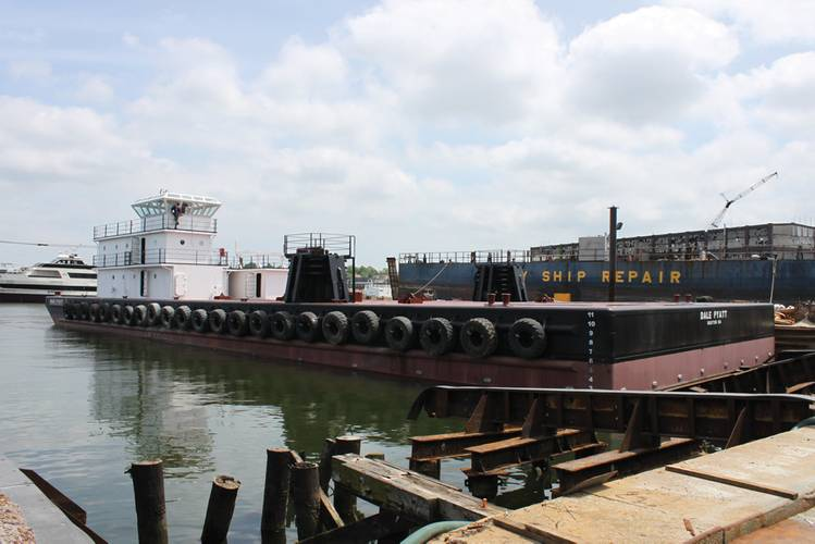 Deck barge Dale Pyatt sits in May Shipyard while construction is finalized. (Photo: Eric Haun)