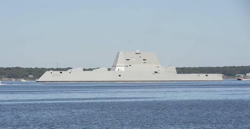 The guided-missile destroyer Pre-Commissioning Unit (PCU) Zumwalt (DDG 1000) departs from Naval Station Newport, R.I. following its maiden voyage from Bath Iron Works Shipyard in Bath, Maine. (U.S. Navy photo by Haley Nace)