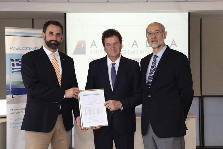 DNV GL - Maritime's George Teriakidis, Business Development Manager, DNV GL – Region South East Europe & Middle East (Left) and Andreas Pagalos, Senior Vice President and Area Manager for East Mediterranean (Right), present Mattheou Dimitrios, Managing Director of Arcadia Shipmanagement Co Ltd. (Middle), with the certificate. (Photo: DNV GL)