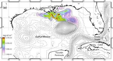 "Dr. Jason Jolliff's hindcasts, following the Deepwater Horizon blowout, show the Gulf's Loop Current pinched itself off in a closed eddy. The natural weathering of oil, as he modeled with a decay constant, also explains why Florida beaches weren't harmed. ""When we look at oceanographic problems, we have to understand the scales of time and space we're dealing with,"" he says. (Image: Jason Joliff; labels superimposed)"