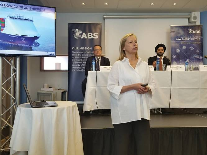 Dr. Kirsi Tikka, Executive Vice President and Senior Maritime Advisor at ABS (foreground) and Niklas Carlen from MSI and Gurinder Singh from ABS (background) during the announcement of the Setting the Course to Low Carbon Shipping vision document. Photo Credit: Joseph DiRenzo