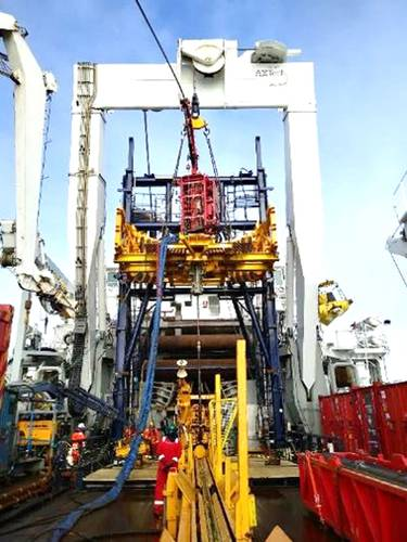 During its cruise on the Mohn Ridge last year, the Norwegian Petroleum Directorate drilled for cores using riserless coiled tubing in 3,000m water depth, from the Island Valiant. Images from service provider TIOS.