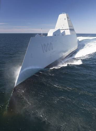 Guided-missile destroyer USS Zumwalt transits the Atlantic Ocean to conduct acceptance trials with the Navy's Board of Inspection and Survey (INSURV). (U.S. Navy photo)