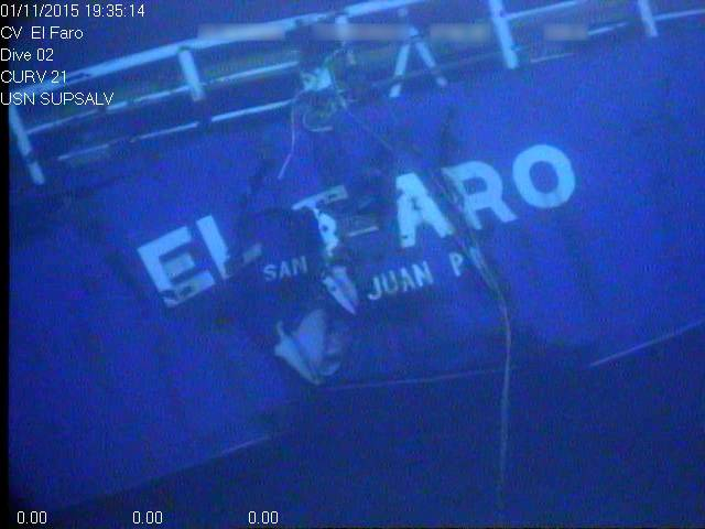El Faro wreckage on the seafloor (Photo: NTSB)