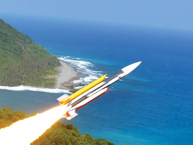 Supersonic Hsiung-Feng III missile, developed by NCSIST. (NCSIST photo)