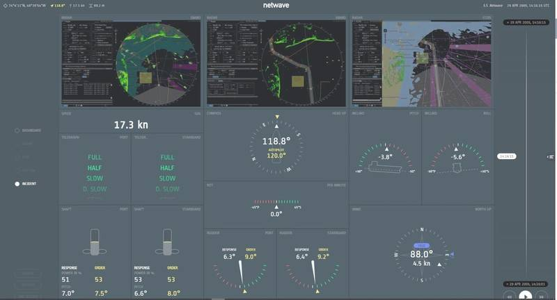 Example screenshot of Orolia's VDR system