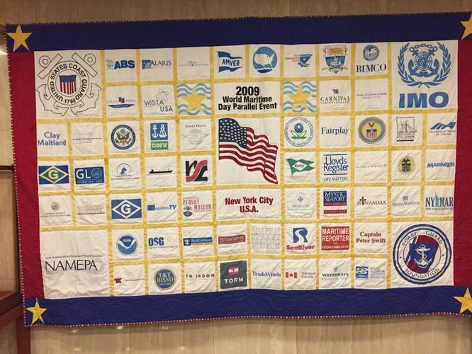 Exiting my interview with the IMO Secretary-General in London last week, I was pleased to see this quilt – with the Maritime Reporter & Engineering Logo – hanging in the lobby of IMO headquarters!