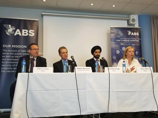 Expert panel consisting of Mr. Niklas Carlen from MSI, Anders Backlund from Herbert Engineering, Gurinder Singh from ABS and Dr. Kirsi Tikka from ABS (left to right) during the unveiling of the Setting the Course to Low Carbon Shipping vision document. Photo Credit: Joseph DiRenzo.