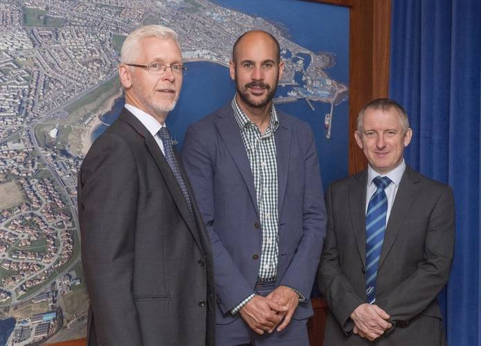 Adam Ezzamel, Vattenfall's project director for the EOWDC (center); with Peterhead Port Authority's chief executive, Ian Laidlaw (left); and deputy chief executive Stephen Paterson (right). (Photo: Peterhead Port Authority)