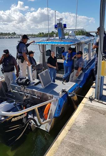 Familiarization training aboard the new Metal Shark at the PRPD Maritime Operations Center near San Juan. (PRPD Photo)