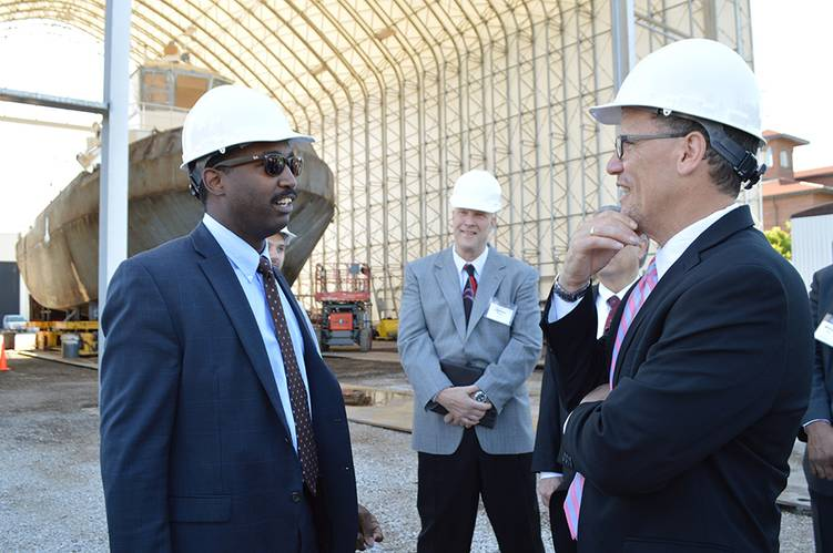 Featured in Foreground: Julius Stafford, Assistant Fleet Engineer; Thomas Perez, U.S. Secretary of Labor. Stafford attended Max S. Hayes High School prior to joining Great Lakes Shipyard and The Great Lakes Towing Company. (Photo: The Great Lakes Group)