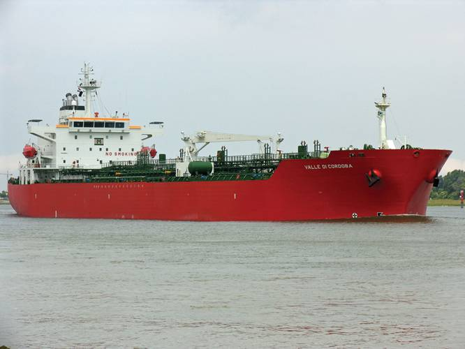 Fig. 1: 	Valle Di Cordoba is generally held to be the first victim of a successful attack against a  	product tanker with the intent to steal the cargo in the Gulf of Guinea in recent years.